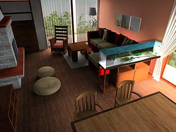 Szeged, családi ház nappalija 60 nm